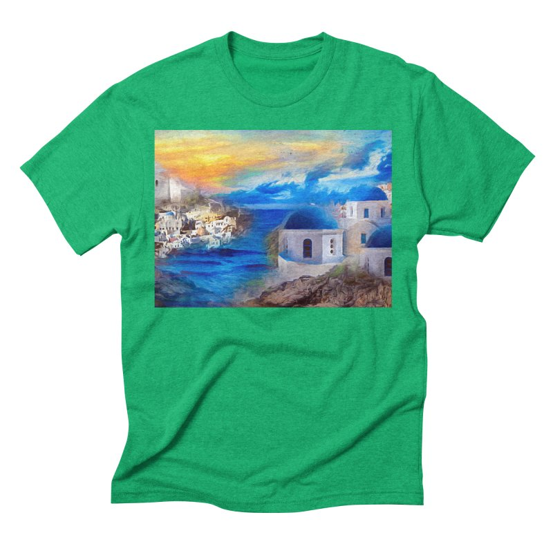 Santorini Dreamscape Men's Triblend T-Shirt by Jasmina Seidl's Artist Shop