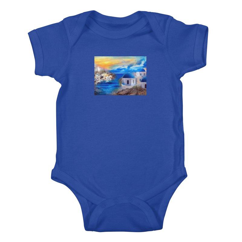 Santorini Dreamscape Kids Baby Bodysuit by Jasmina Seidl's Artist Shop
