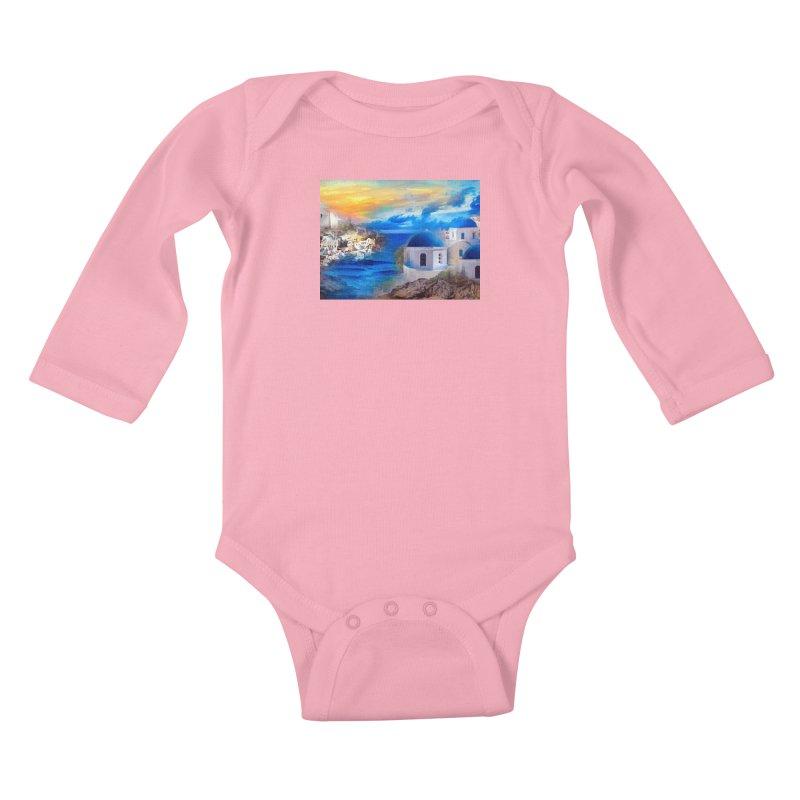 Santorini Dreamscape Kids Baby Longsleeve Bodysuit by Jasmina Seidl's Artist Shop