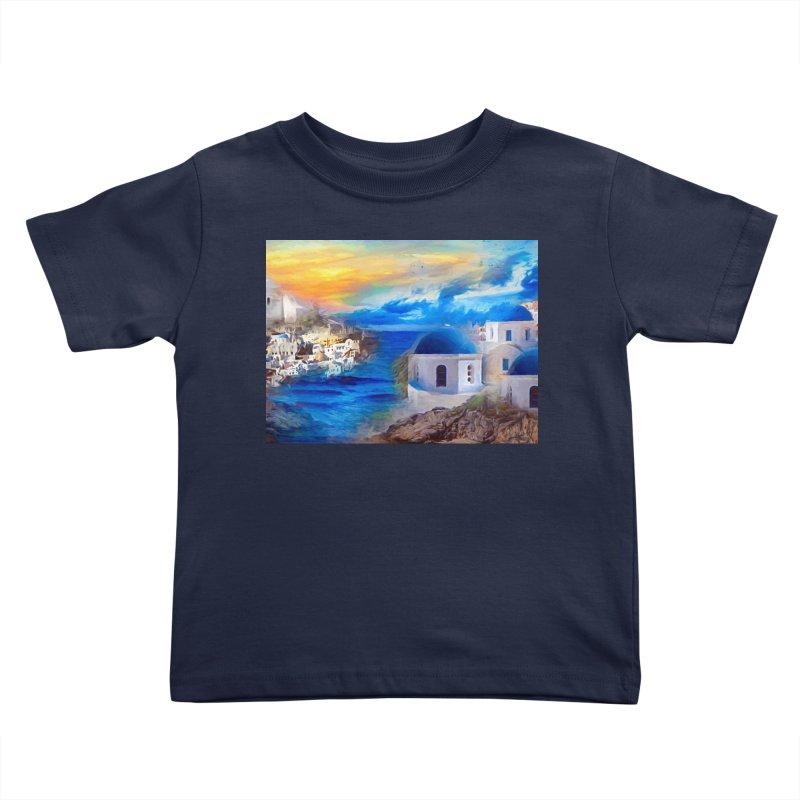 Santorini Dreamscape Kids Toddler T-Shirt by Jasmina Seidl's Artist Shop