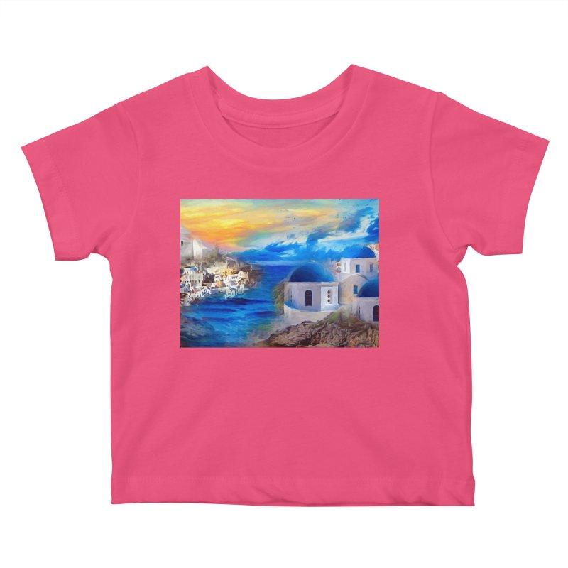 Santorini Dreamscape Kids Baby T-Shirt by Jasmina Seidl's Artist Shop