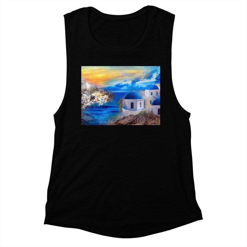 Santorini Dreamscape Women's Muscle Tank by Jasmina Seidl's Artist Shop