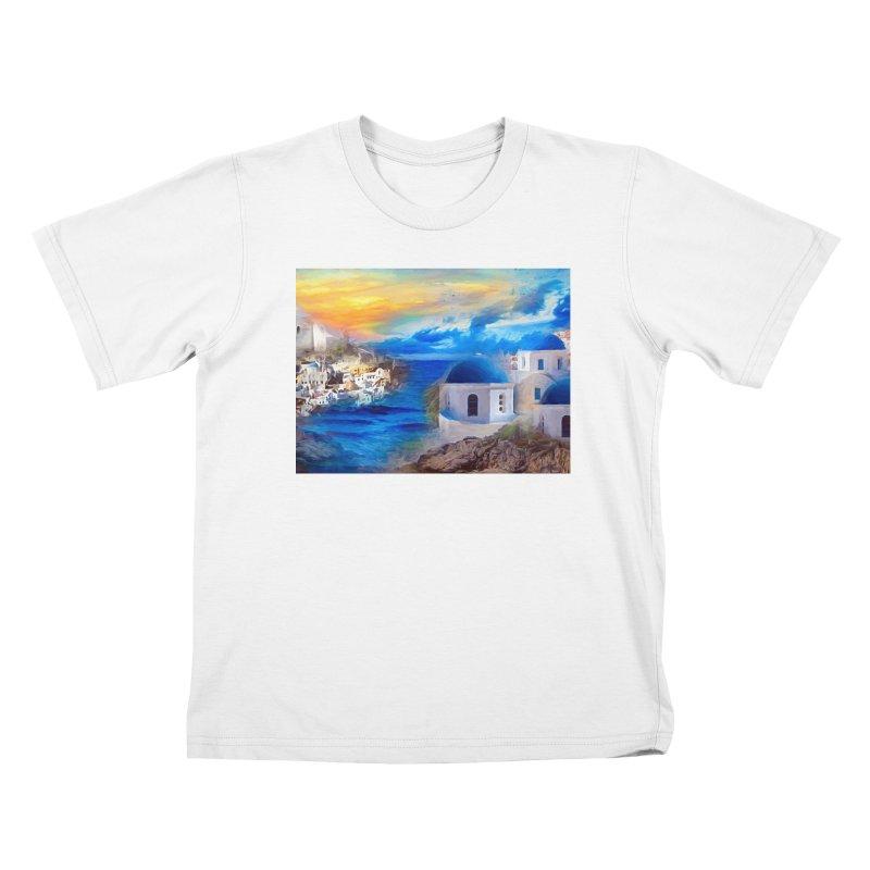 Santorini Dreamscape Kids T-Shirt by Jasmina Seidl's Artist Shop