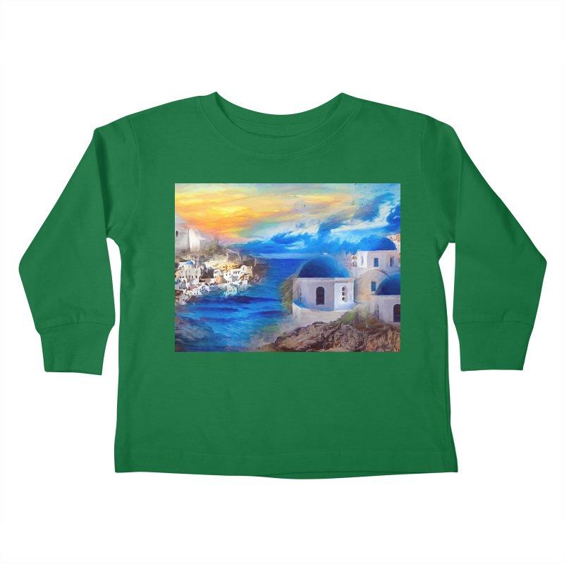 Santorini Dreamscape Kids Toddler Longsleeve T-Shirt by Jasmina Seidl's Artist Shop