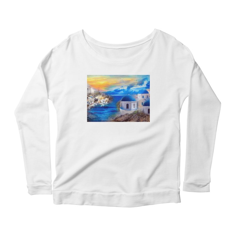 Santorini Dreamscape Women's Scoop Neck Longsleeve T-Shirt by Jasmina Seidl's Artist Shop