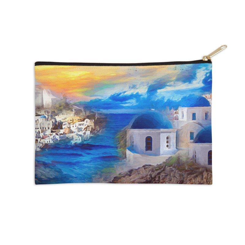 Santorini Dreamscape Accessories Zip Pouch by Jasmina Seidl's Artist Shop