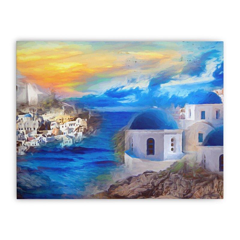Santorini Dreamscape Home Stretched Canvas by Jasmina Seidl's Artist Shop
