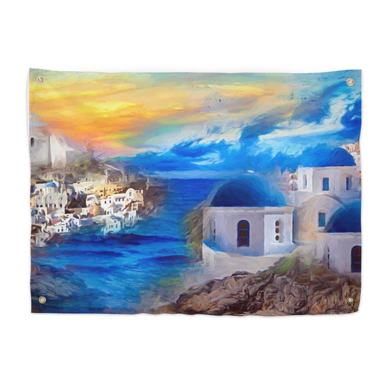 Santorini Dreamscape Home Tapestry by Jasmina Seidl's Artist Shop