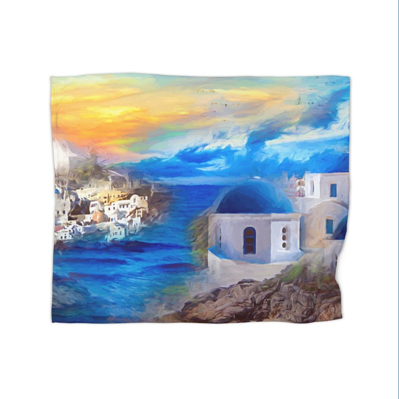 Santorini Dreamscape Home Fleece Blanket Blanket by Jasmina Seidl's Artist Shop