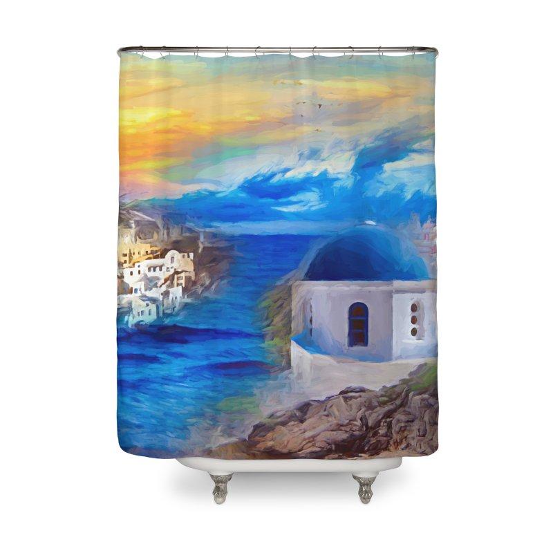 Santorini Dreamscape Home Shower Curtain by Jasmina Seidl's Artist Shop