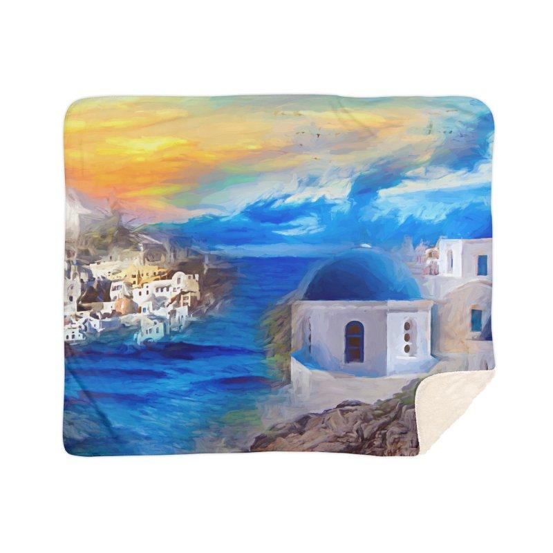 Santorini Dreamscape Home Sherpa Blanket Blanket by Jasmina Seidl's Artist Shop