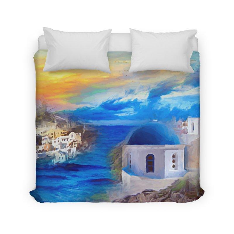 Santorini Dreamscape Home Duvet by Jasmina Seidl's Artist Shop