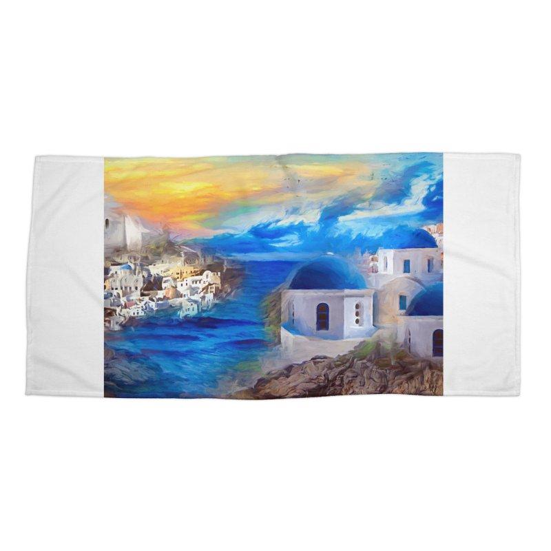 Santorini Dreamscape Accessories Beach Towel by Jasmina Seidl's Artist Shop