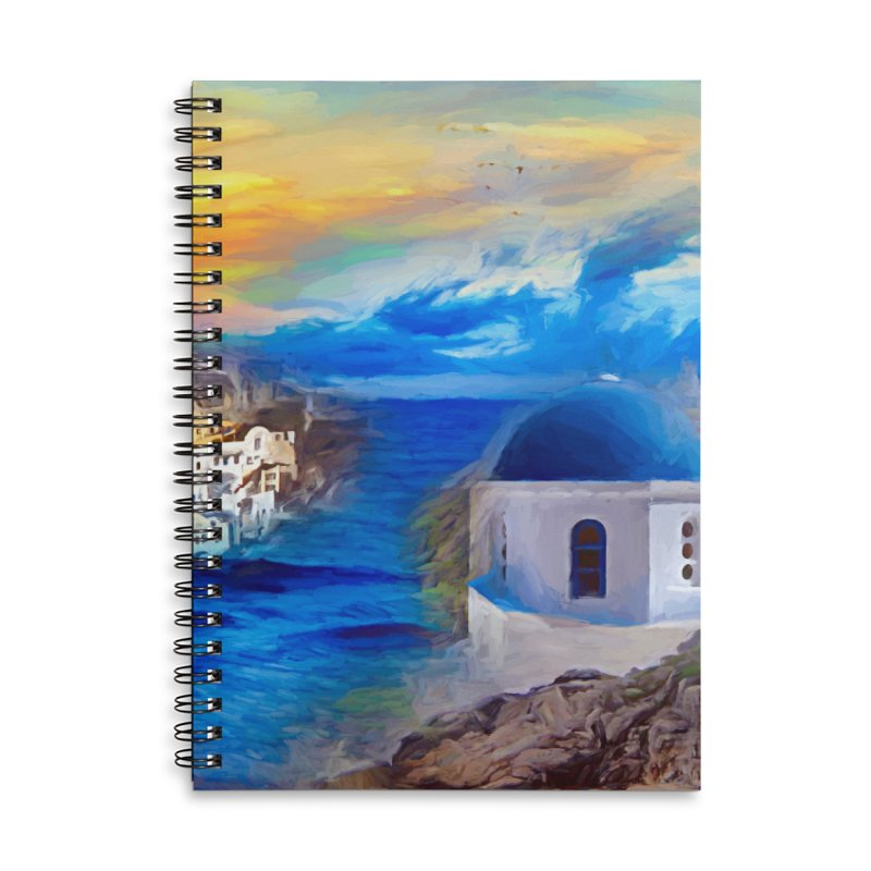 Santorini Dreamscape Accessories Lined Spiral Notebook by Jasmina Seidl's Artist Shop