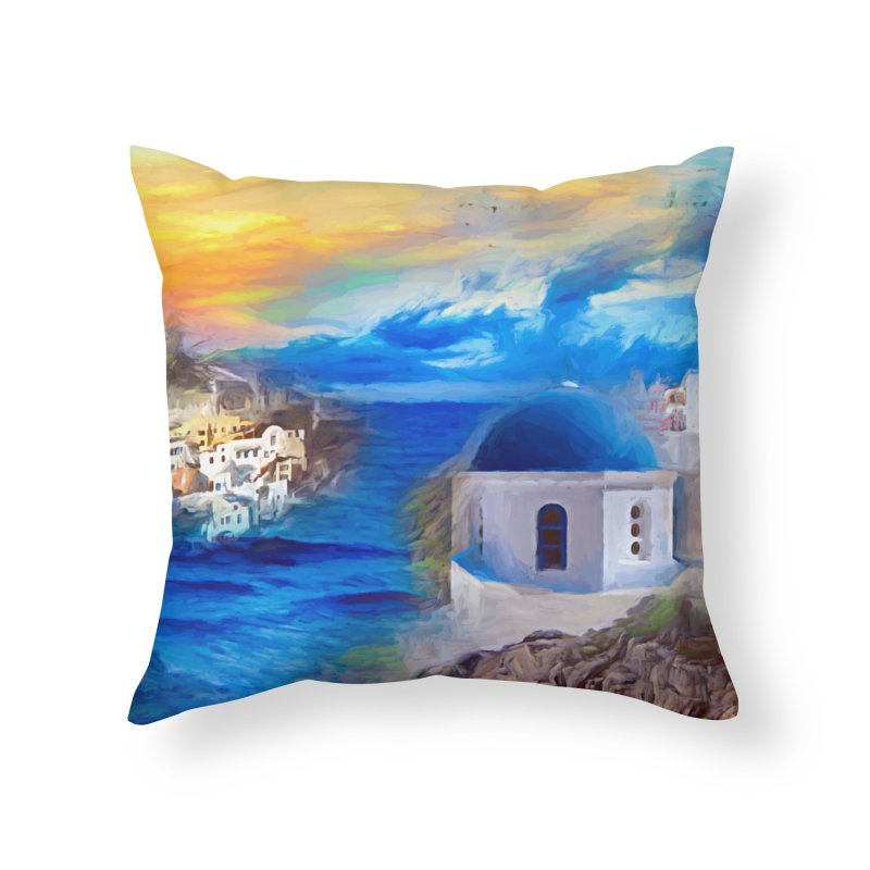Santorini Dreamscape Home Throw Pillow by Jasmina Seidl's Artist Shop