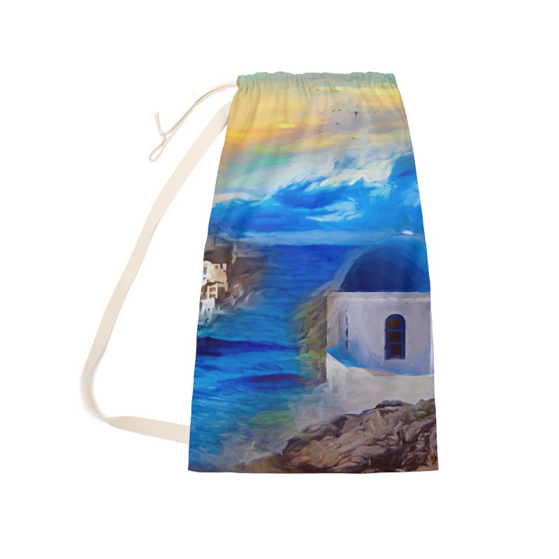 Santorini Dreamscape Accessories Laundry Bag Bag by Jasmina Seidl's Artist Shop