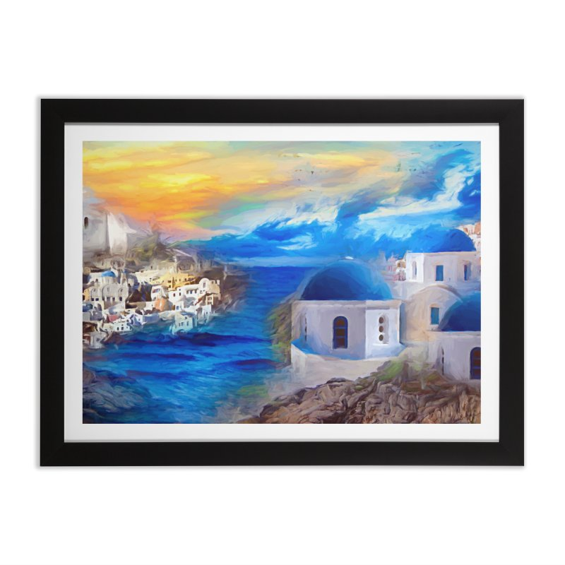 Santorini Dreamscape Home Framed Fine Art Print by Jasmina Seidl's Artist Shop