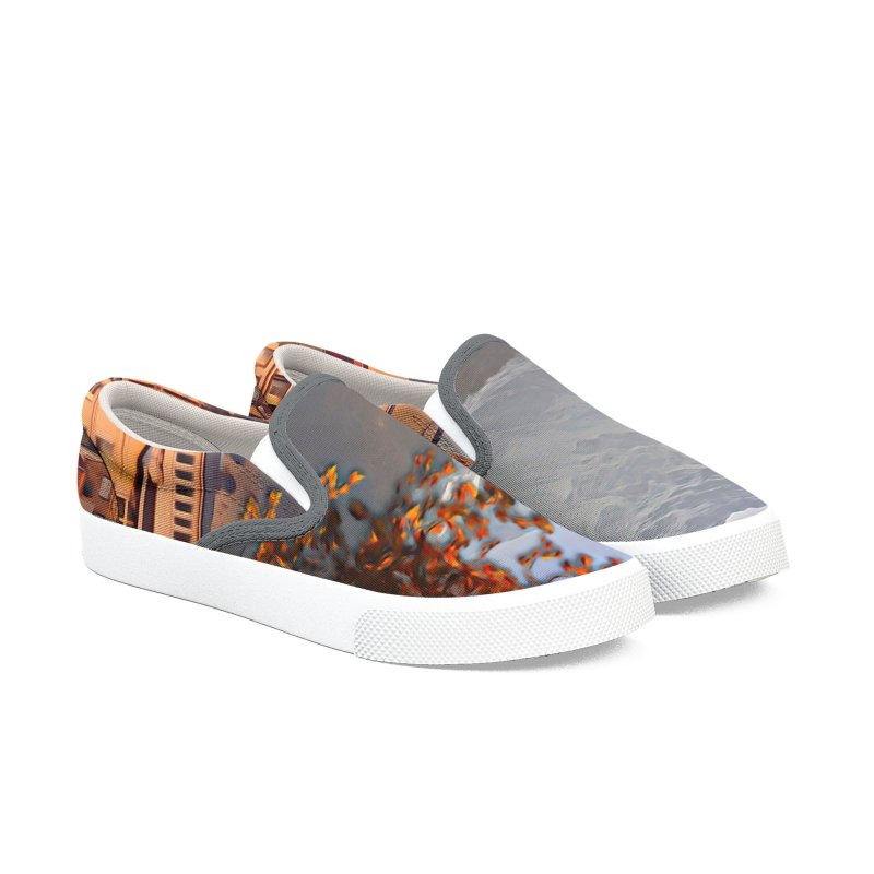 Village on the mountainside Men's Slip-On Shoes by Jasmina Seidl's Artist Shop
