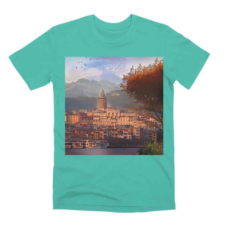 Village on the mountainside Men's Premium T-Shirt by Jasmina Seidl's Artist Shop