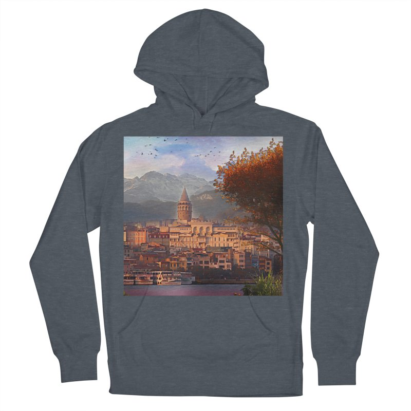 Village on the mountainside Women's French Terry Pullover Hoody by Jasmina Seidl's Artist Shop