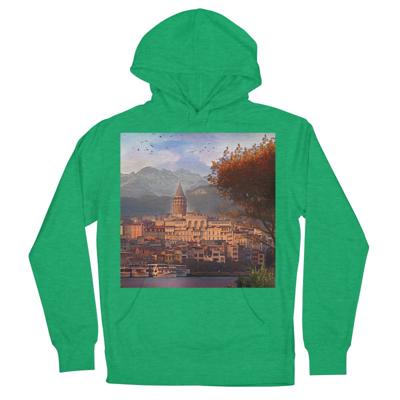 Village on the mountainside Men's French Terry Pullover Hoody by Jasmina Seidl's Artist Shop