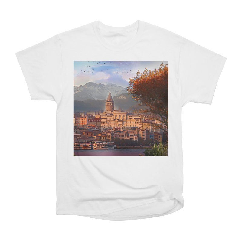 Village on the mountainside Women's Heavyweight Unisex T-Shirt by Jasmina Seidl's Artist Shop