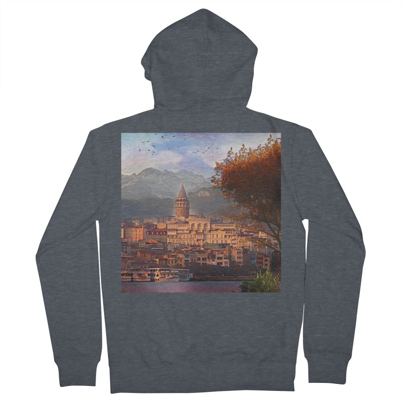 Village on the mountainside Women's French Terry Zip-Up Hoody by Jasmina Seidl's Artist Shop