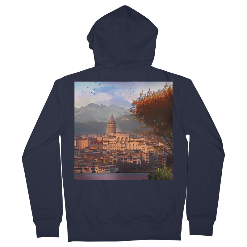 Village on the mountainside Men's French Terry Zip-Up Hoody by Jasmina Seidl's Artist Shop