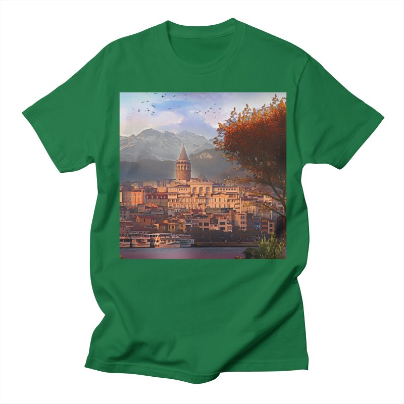 Village on the mountainside Men's Regular T-Shirt by Jasmina Seidl's Artist Shop