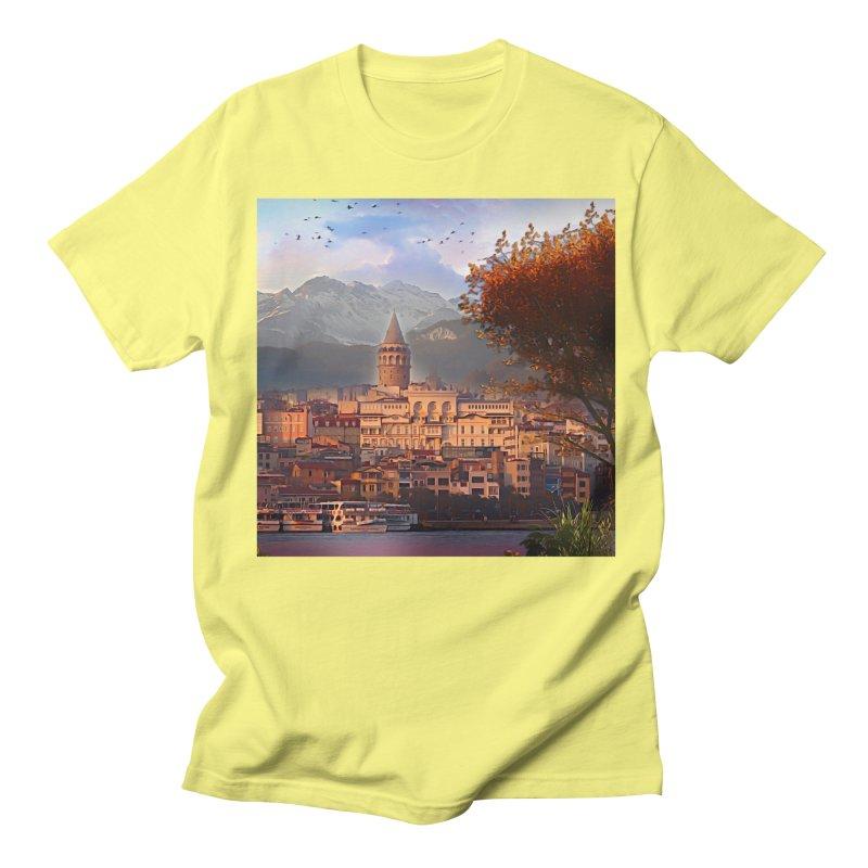 Village on the mountainside Men's Regular T-Shirt by Jasmina Seidl's Artist Shop