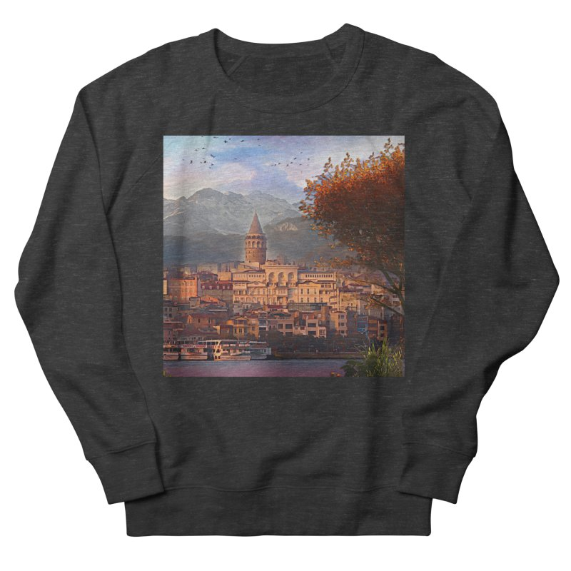 Village on the mountainside Women's French Terry Sweatshirt by Jasmina Seidl's Artist Shop