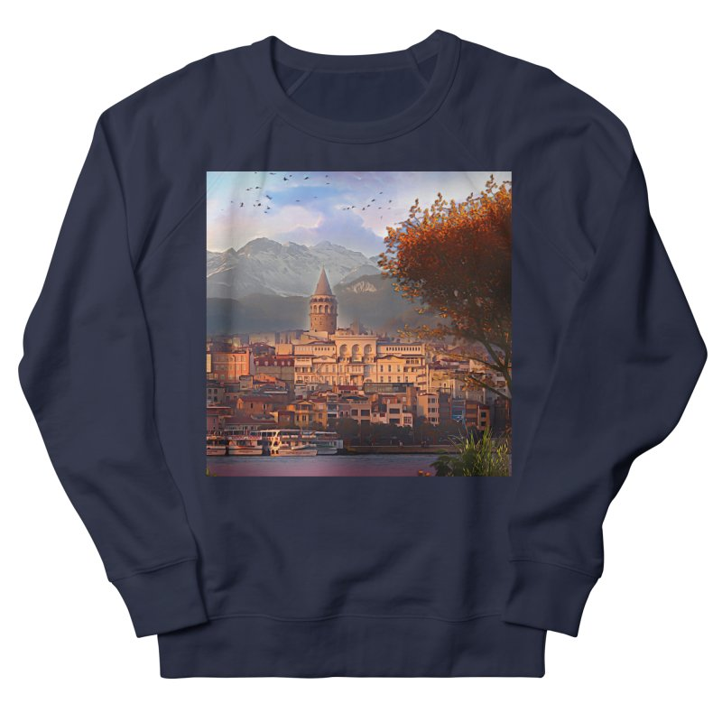 Village on the mountainside Women's French Terry Sweatshirt by Jasmina Seidl's Artist Shop