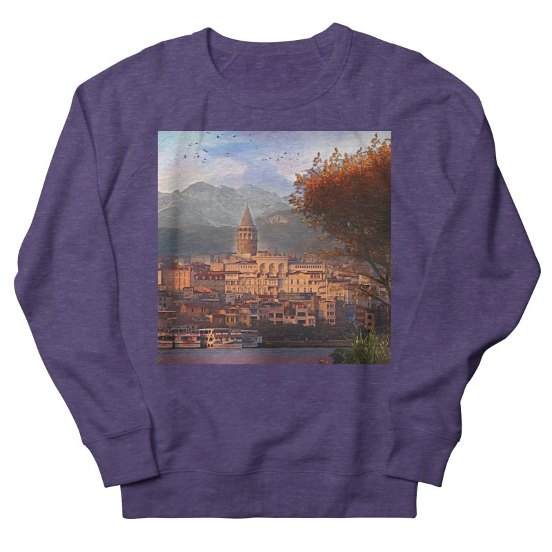 Village on the mountainside Men's French Terry Sweatshirt by Jasmina Seidl's Artist Shop