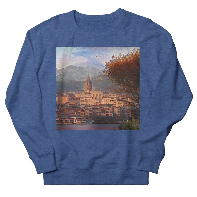 Village on the mountainside Men's French Terry Sweatshirt by Jasmina Seidl's Artist Shop