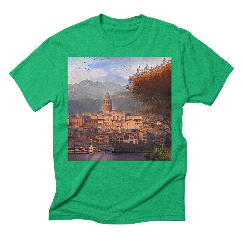 Village on the mountainside Men's Triblend T-Shirt by Jasmina Seidl's Artist Shop