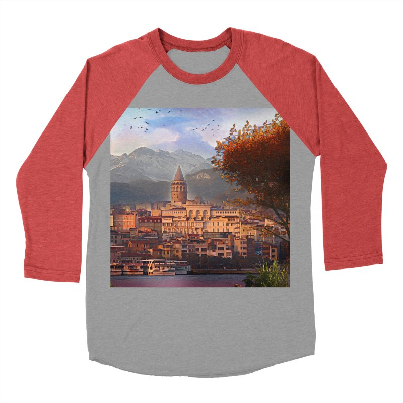Village on the mountainside Women's Baseball Triblend Longsleeve T-Shirt by Jasmina Seidl's Artist Shop