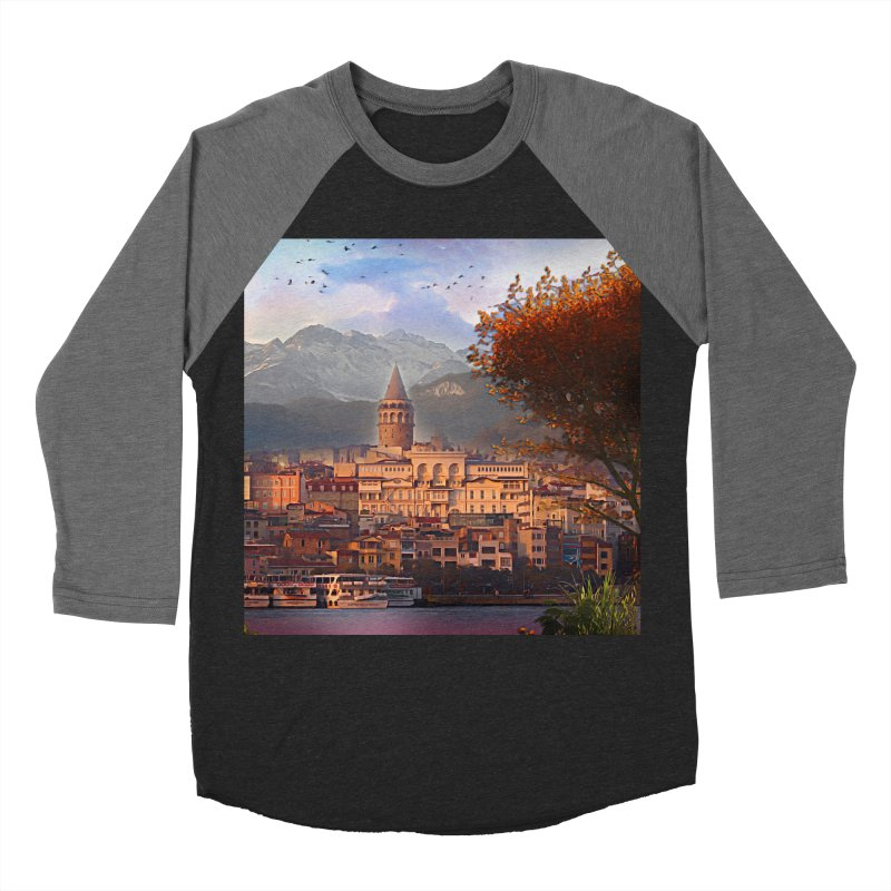 Village on the mountainside Men's Baseball Triblend Longsleeve T-Shirt by Jasmina Seidl's Artist Shop
