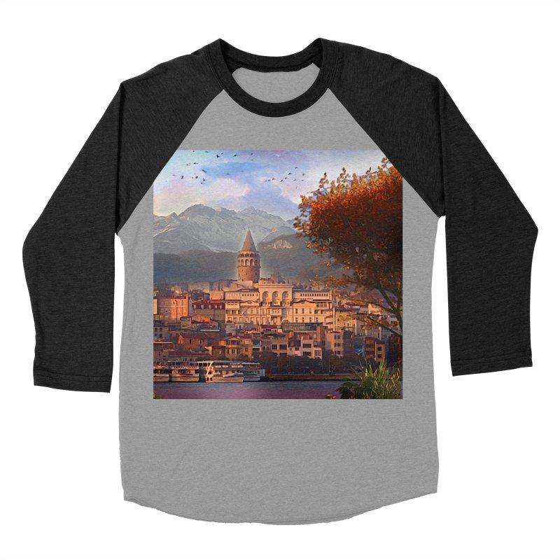 Village on the mountainside Men's Baseball Triblend Longsleeve T-Shirt by Jasmina Seidl's Artist Shop