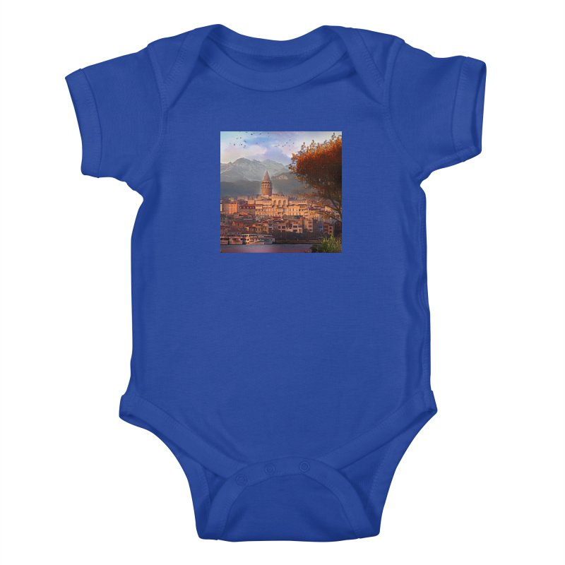 Village on the mountainside Kids Baby Bodysuit by Jasmina Seidl's Artist Shop
