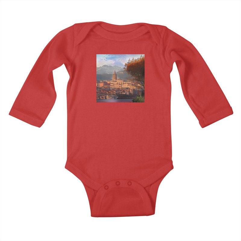 Village on the mountainside Kids Baby Longsleeve Bodysuit by Jasmina Seidl's Artist Shop