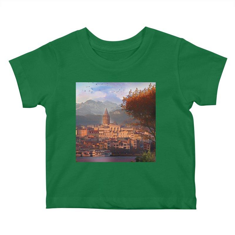 Village on the mountainside Kids Baby T-Shirt by Jasmina Seidl's Artist Shop