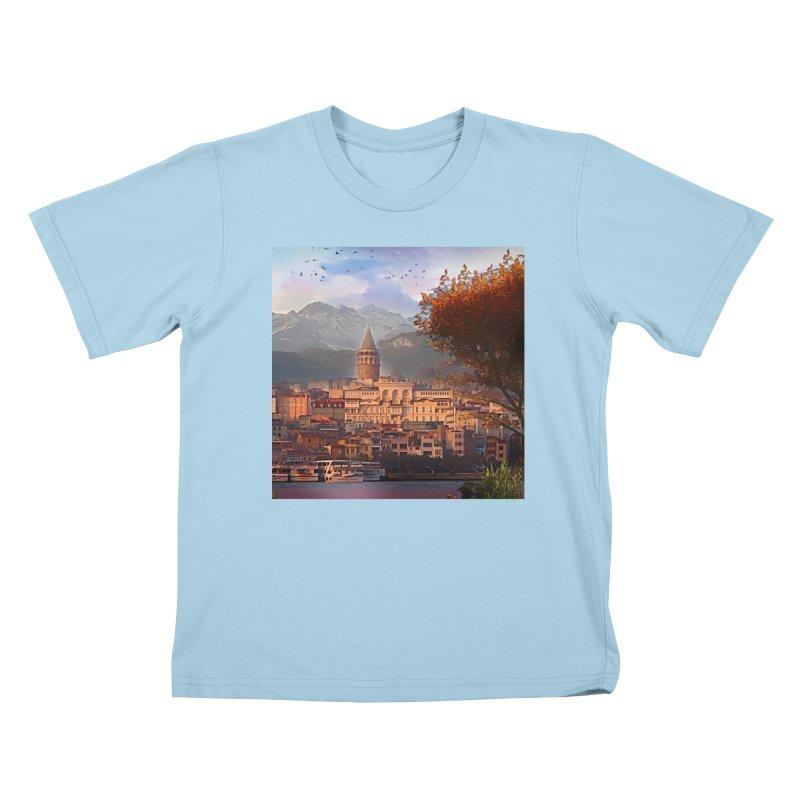 Village on the mountainside Kids T-Shirt by Jasmina Seidl's Artist Shop