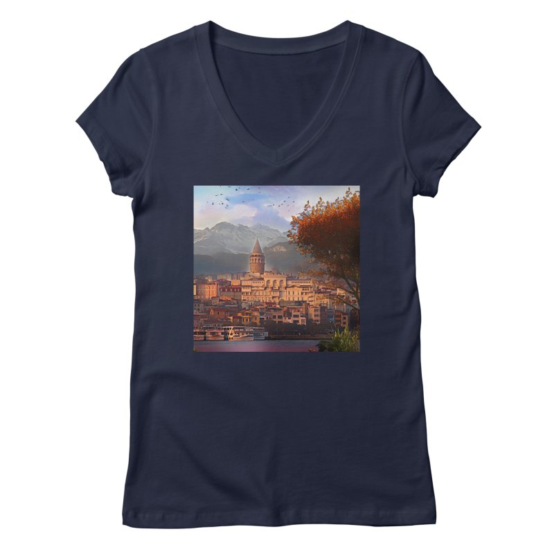 Village on the mountainside Women's Regular V-Neck by Jasmina Seidl's Artist Shop