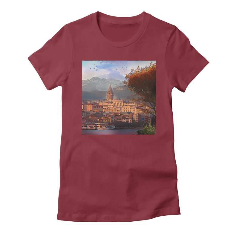 Village on the mountainside Women's Fitted T-Shirt by Jasmina Seidl's Artist Shop