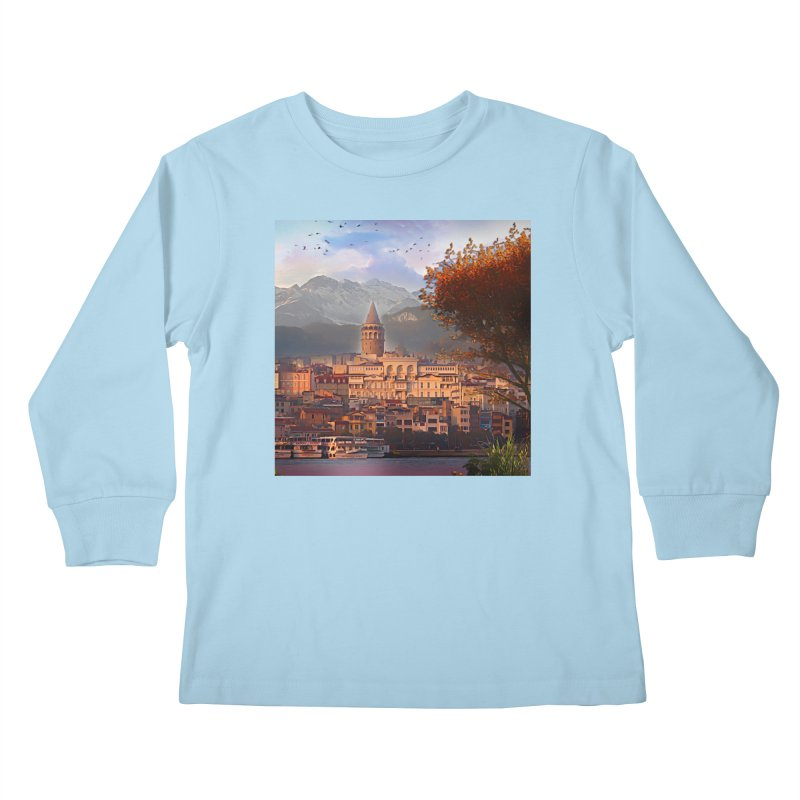 Village on the mountainside Kids Longsleeve T-Shirt by Jasmina Seidl's Artist Shop