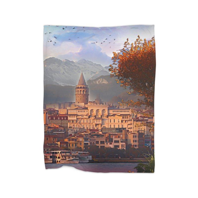 Village on the mountainside Home Fleece Blanket Blanket by Jasmina Seidl's Artist Shop