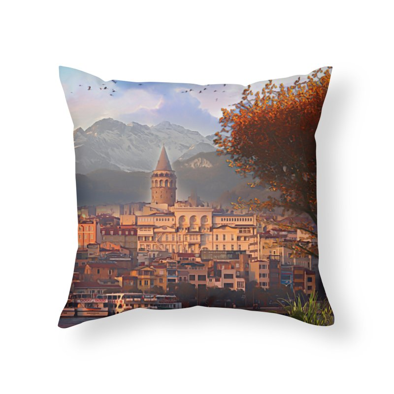 Village on the mountainside Home Throw Pillow by Jasmina Seidl's Artist Shop