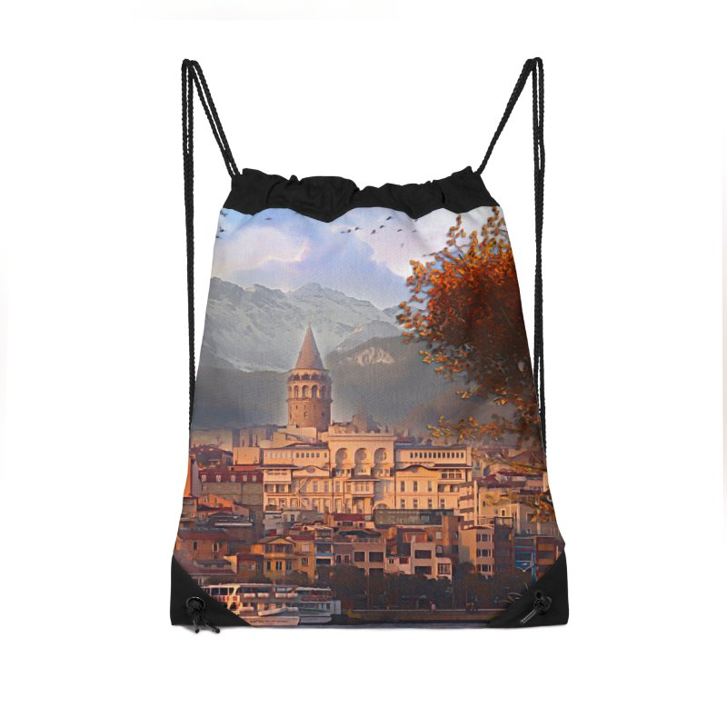 Village on the mountainside Accessories Drawstring Bag Bag by Jasmina Seidl's Artist Shop