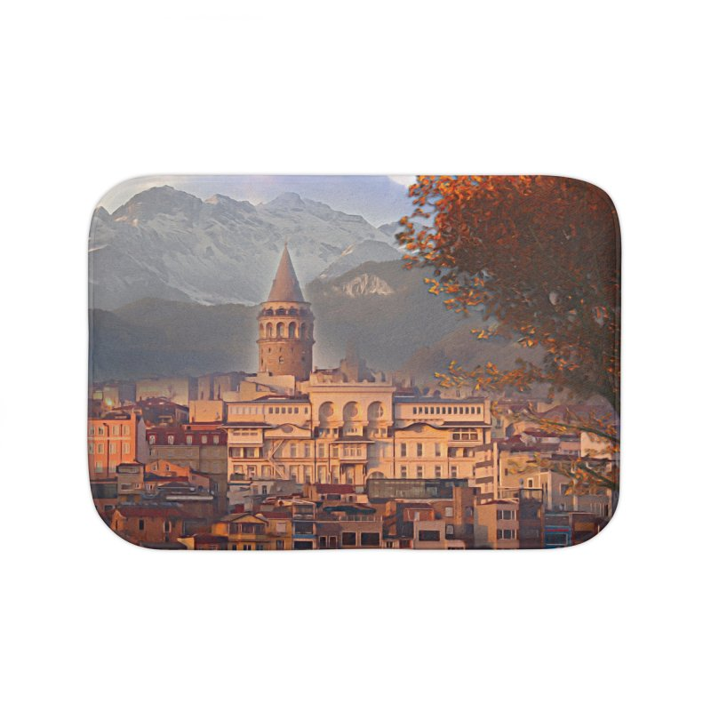 Village on the mountainside Home Bath Mat by Jasmina Seidl's Artist Shop