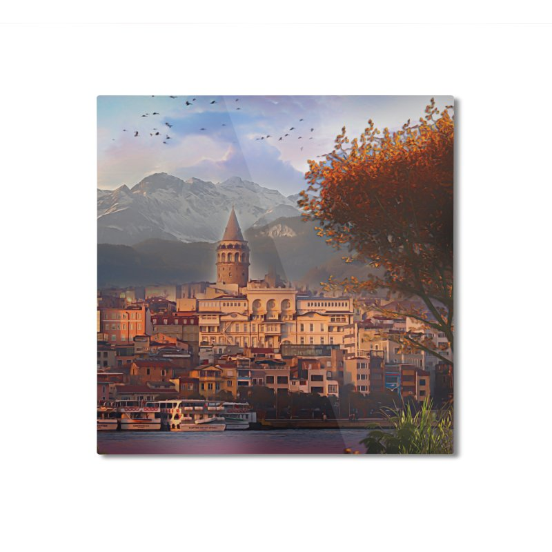 Village on the mountainside Home Mounted Aluminum Print by Jasmina Seidl's Artist Shop